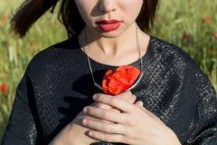 拿着鸦片的美丽的性感的逗人喜爱的女孩在他的手上开花在日落在一个晴朗的夏日 免版税库存照片