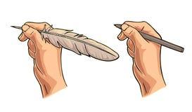 拿着鹅羽毛和铅笔的女性手 传染媒介颜色平的例证 免版税库存照片