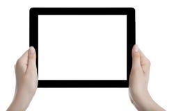 拿着黑屏数字式片剂的手 免版税库存照片