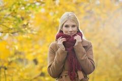 拿着围巾的美丽的妇女画象在脖子上在公园在秋天期间 免版税库存照片