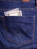 拿着货币的现有量 在口袋的商人的贿款 美元杂种狗 免版税库存照片