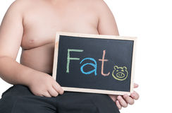 拿着黑板的肥胖肥胖男孩 免版税库存图片