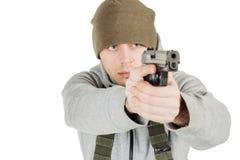 拿着黑枪的反叛者或私有军事承包商 战争,胳膊 库存图片