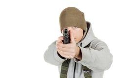 拿着黑枪的反叛者或私有军事承包商 战争,胳膊 免版税库存图片