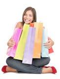 拿着购物妇女的袋子 库存图片