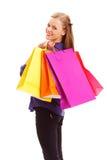 拿着购物袋的妇女 免版税图库摄影