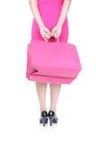 拿着购物袋的高跟鞋的妇女 免版税库存照片