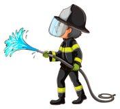 拿着水管的消防员的一张简单的图画 免版税库存图片