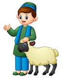 拿着绵羊的愉快的回教孩子 向量例证