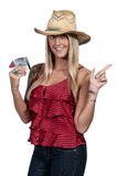 拿着100美金的妇女 免版税库存照片