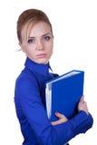 拿着组织者的成人女实业家 免版税库存照片