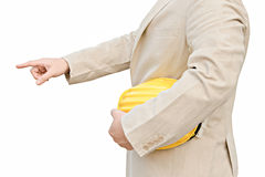 拿着黄色安全帽的工头 免版税库存照片