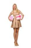 拿着giftbox的愉快的妇女被隔绝 图库摄影