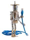 拿着lan缆绳的Steampunk机器人 免版税库存照片