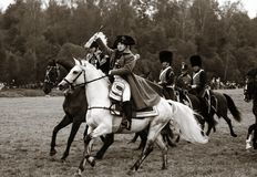 拿破仑向致敬的听众,历史再制定 库存图片