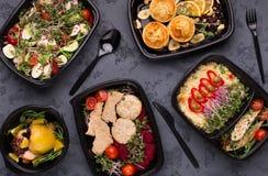 拿走食物,健康饭食顶视图品种  免版税库存图片