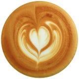 拿铁在白色背景中隔绝的艺术咖啡 库存照片
