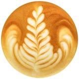 拿铁在白色背景中隔绝的艺术咖啡 免版税库存照片