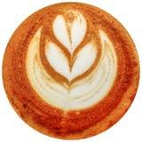 拿铁在白色背景中隔绝的艺术咖啡 免版税库存图片