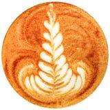 拿铁在白色背景中隔绝的艺术咖啡 库存图片