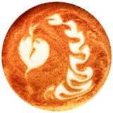 拿铁在白色背景中隔绝的艺术咖啡 免版税图库摄影