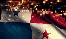 巴拿马国旗光夜Bokeh摘要背景 免版税库存图片