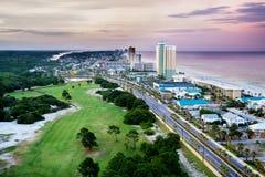 巴拿马城海滩,佛罗里达,前面海滩路看法  库存照片