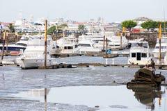 巴拿马市cinta costera小游艇船坞视图 免版税库存图片