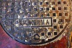 巴拿马标志人孔盖子五颜六色铁的金属 图库摄影