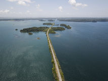 巴拿马运河鸟瞰图  免版税库存图片