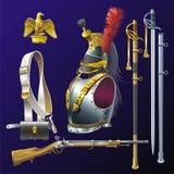 拿破仑似的胸甲骑兵军备。 库存图片