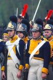 拿破仑式的战争战士- reenactors、男人和妇女 免版税库存照片