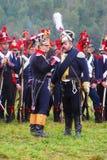 拿破仑式的战争战士- reenactors讲话 免版税库存照片