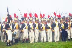 拿破仑式的战争战士- reenactors 库存照片