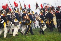 拿破仑式的战争战士- reenactors 图库摄影