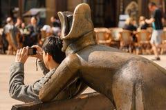 拿破仑战士雕象在布拉索夫,斯洛伐克 免版税库存照片