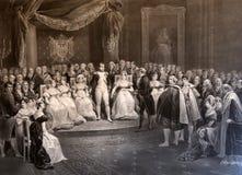 拿破仑由他的年龄最著名的字符围拢了 免版税库存照片