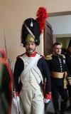 拿破仑` s到来的200th周年在费拉约港,厄尔巴岛 库存照片