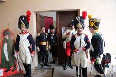拿破仑` s到来的200th周年在费拉约港,厄尔巴岛 免版税库存照片