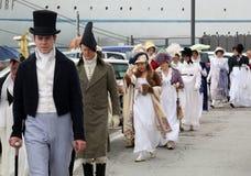 拿破仑` s到来的200th周年在费拉约港,厄尔巴岛 库存图片