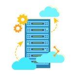 主持与数据存储的概念 平的传染媒介例证 免版税库存照片