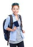 持护照的妇女旅客 库存照片