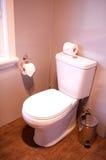持有人家庭旅馆涉及的卷空间洗手间 免版税库存图片