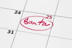挂历板料与红旗的圣诞节12月25日-, 免版税库存图片