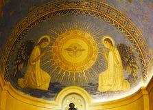 挂接塔博尔 天主教显圣容堂和周围 库存照片