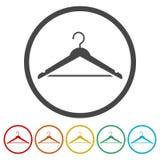 挂衣架标志象,寄物处标志,包括的6种颜色 库存例证