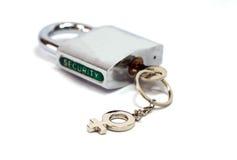 挂锁与一个女性性别钥匙持有人的安全 库存图片