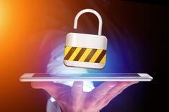 挂锁在一个未来派接口显示的安全连接 图库摄影