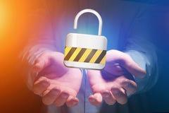 挂锁在一个未来派接口显示的安全连接 库存照片