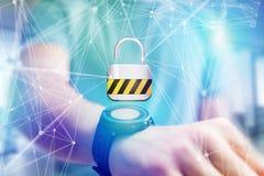 挂锁在一个未来派接口显示的安全连接 免版税库存图片